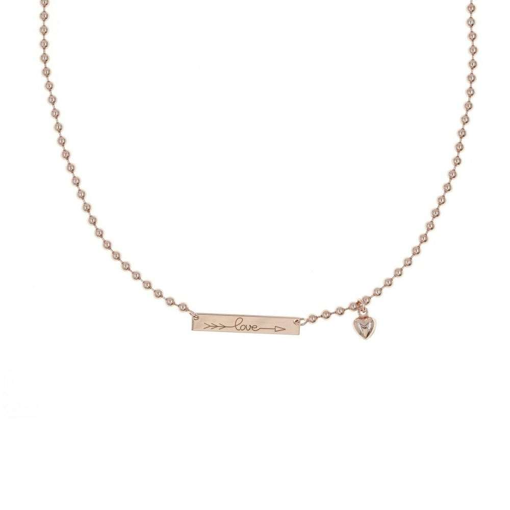 COLLANA AG 925 ROSE' CON CATENA A SFERE E TARGA LOVE CM. 40 + CM. 3 EXT.