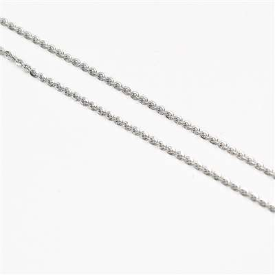 Collana Ag 925 rodiata forzatina diamantata 42 cm e diametro 2 mm