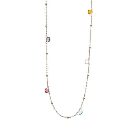 COLLANA AG 925 ROSE' CON PIETRE MULTICOLOR CM. 90