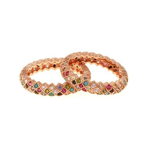 ANELLO AG 925 ROSE' CON ZIRCONI MULTICOLOR