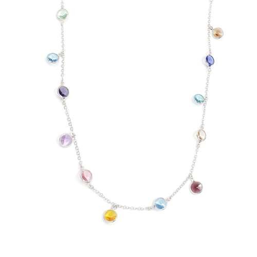 COLLANA AG 925 RODIATO CON SWAROVSKI MULTICOLOR CM. 98